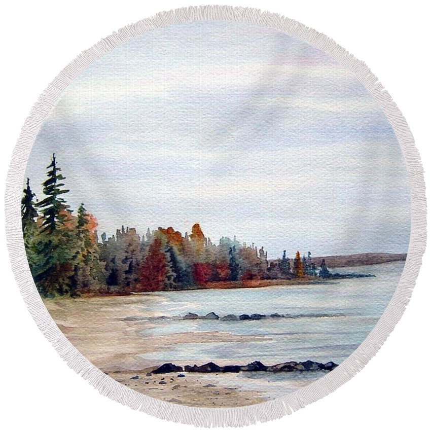 Victoria Beach Manitoba Shoreline Round Beach Towel featuring the painting Victoria Beach In Manitoba by Joanne Smoley