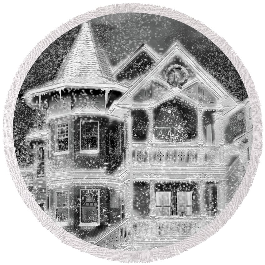 House Round Beach Towel featuring the digital art Victorian Christmas Black And White by Steve Karol