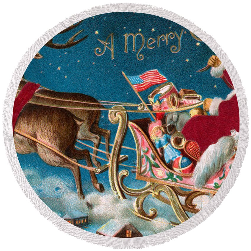Christmas Round Beach Towel featuring the painting Victorian Christmas Card by American School