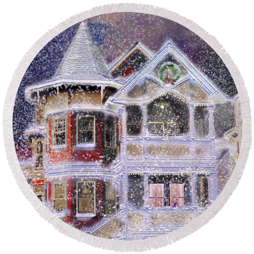 House Round Beach Towel featuring the digital art Victorian Christmas by Steve Karol