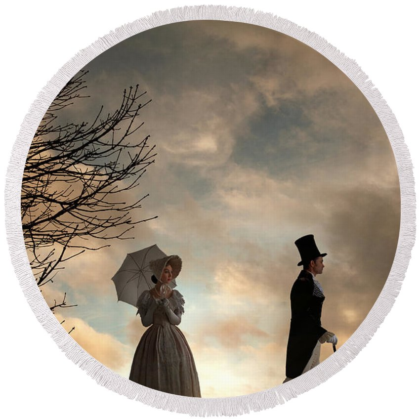 Victorian Round Beach Towel featuring the photograph Victorian Couple Parting by Lee Avison