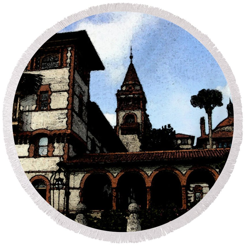 Hotel Round Beach Towel featuring the mixed media Victorian Era Hotel by Shirley Heyn