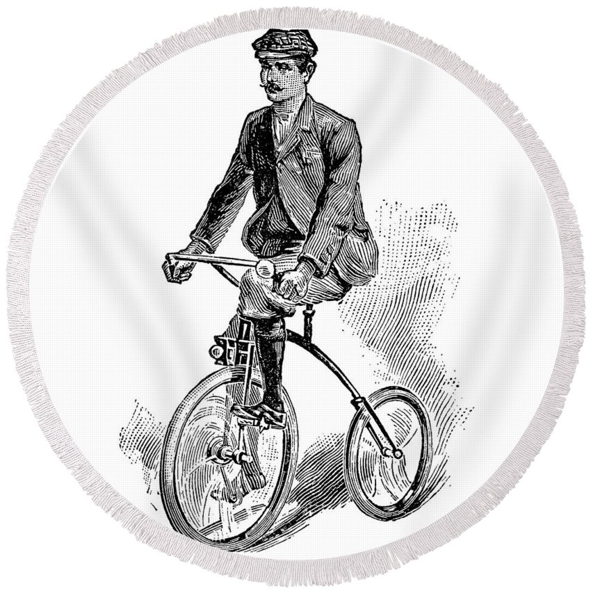 1800s Round Beach Towel featuring the drawing Victorian Gentleman Cycling by Neil Baylis