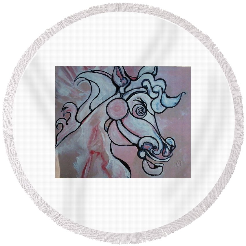 Abstract Round Beach Towel featuring the painting Victoria's Secret by Greta Redzko