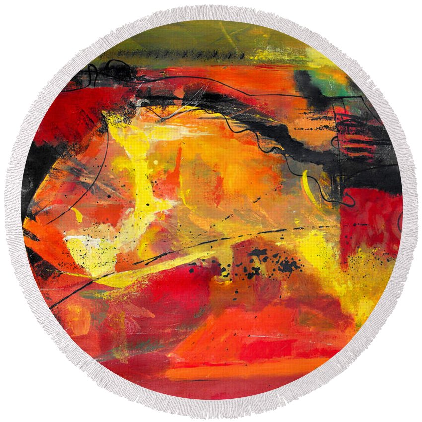 Abstract Round Beach Towel featuring the painting Victory And Rejuvenation by Ruth Palmer