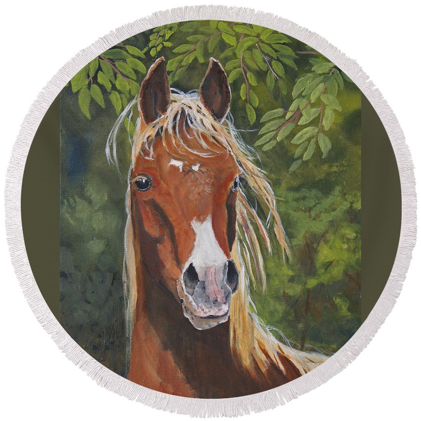 Horse Round Beach Towel featuring the painting Victory by Heather Coen