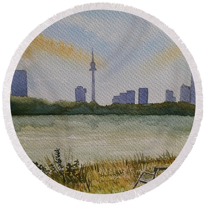 Vienna Round Beach Towel featuring the painting Vienna City by Marko Ivancevic