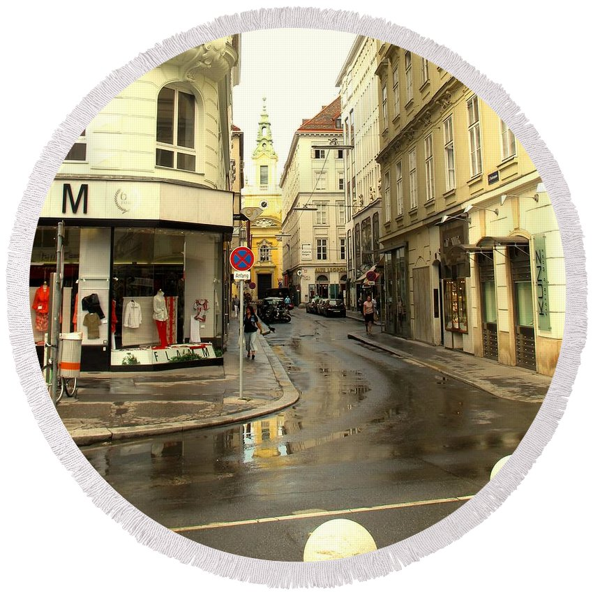 Vienna Round Beach Towel featuring the photograph Vienna Corner After The Rain by Ian MacDonald