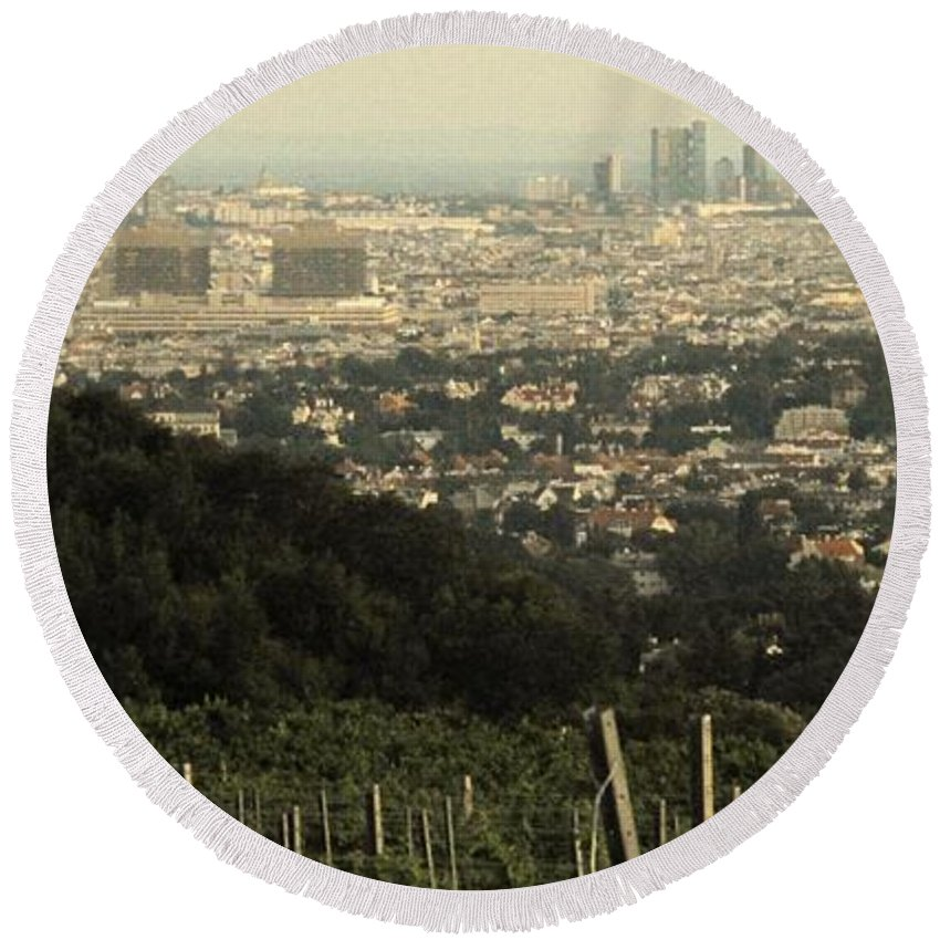 Vineyard Round Beach Towel featuring the photograph Vienna From The Vineyard by Ian MacDonald