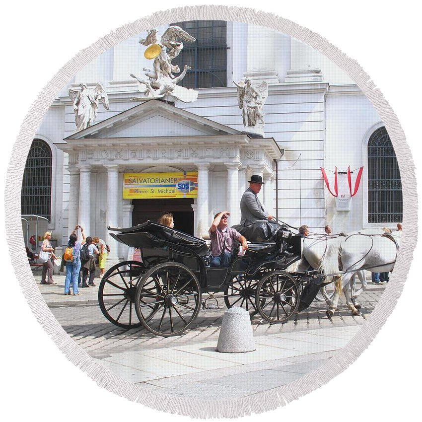 Carriage Round Beach Towel featuring the photograph Vienna Horse And Carriage by Ian MacDonald