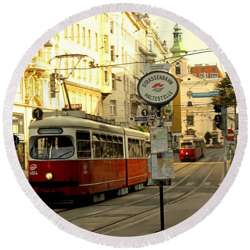 Streetcar Round Beach Towel featuring the photograph Vienna Streetcar by Ian MacDonald