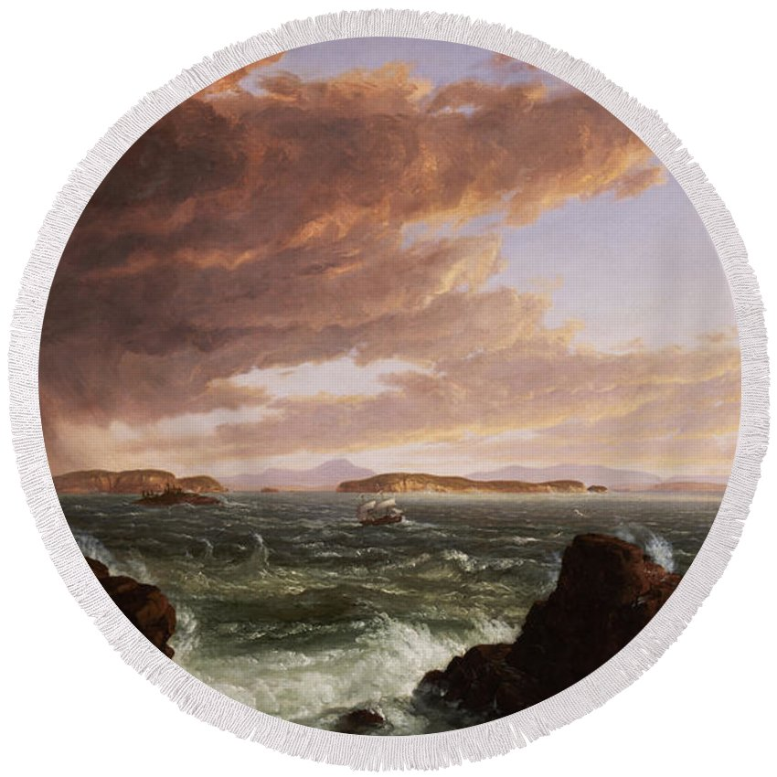 Stormy Weather Round Beach Towel featuring the painting View Across Frenchman's Bay From Mt. Desert Island After A Squall by Thomas Cole