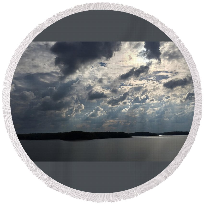Wappapello Lake Round Beach Towel featuring the photograph View Across Wappapello Lake II by James Pinkerton