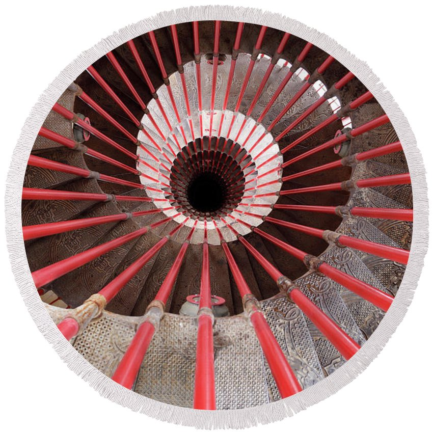Down Round Beach Towel featuring the photograph View Down The Steel Double Helix Spiral Staircase At The Ljublja by Reimar Gaertner