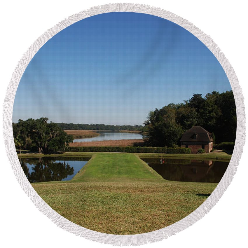 Photography Round Beach Towel featuring the photograph View Down To The Ashley River At Middleton Place Plantation Charleston by Susanne Van Hulst