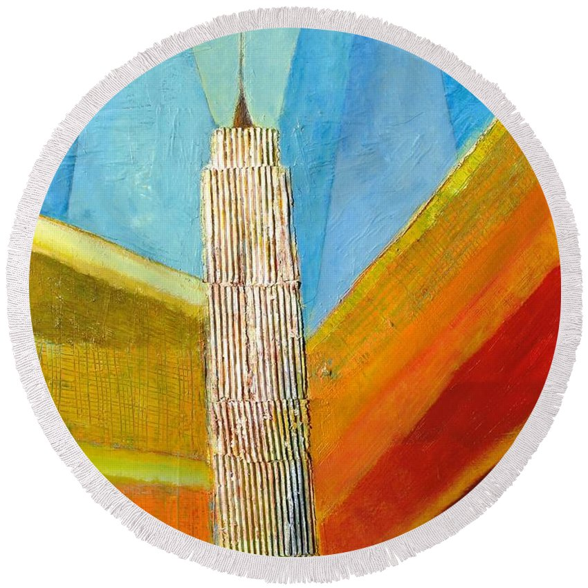 Abstract Cityscape Round Beach Towel featuring the painting View From 34th St by Habib Ayat