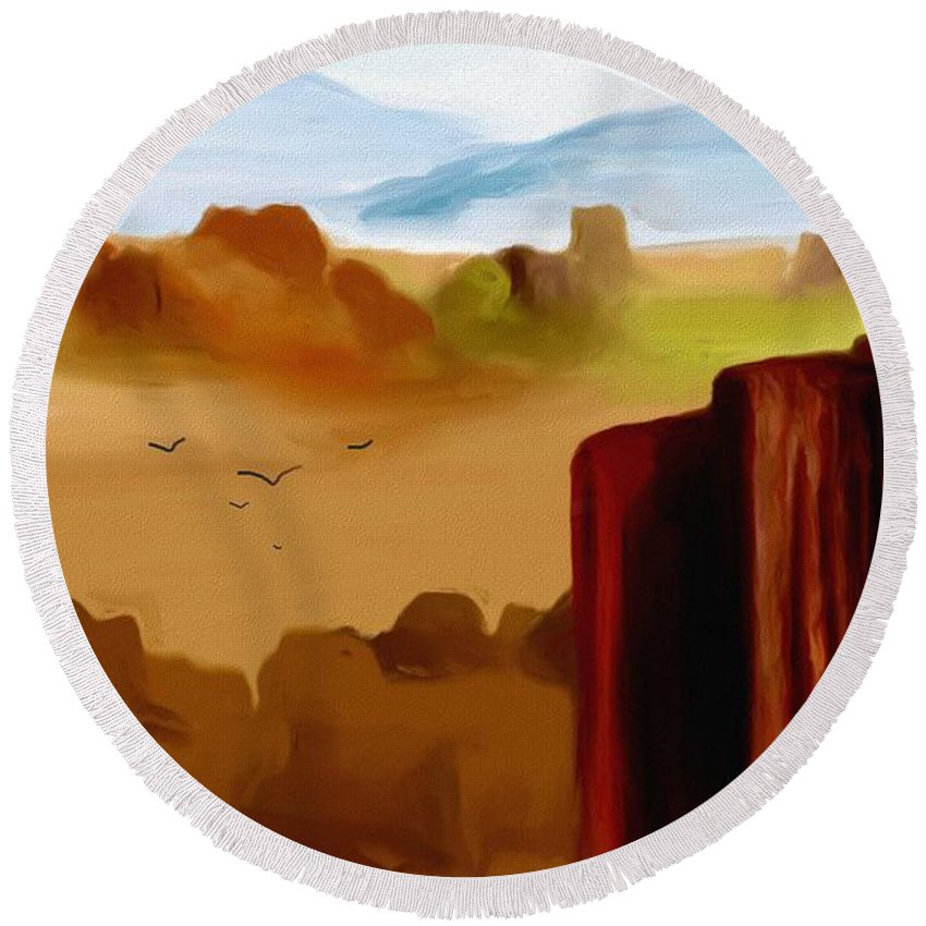 Digital Painting Round Beach Towel featuring the digital art View From A Butte by David Lane