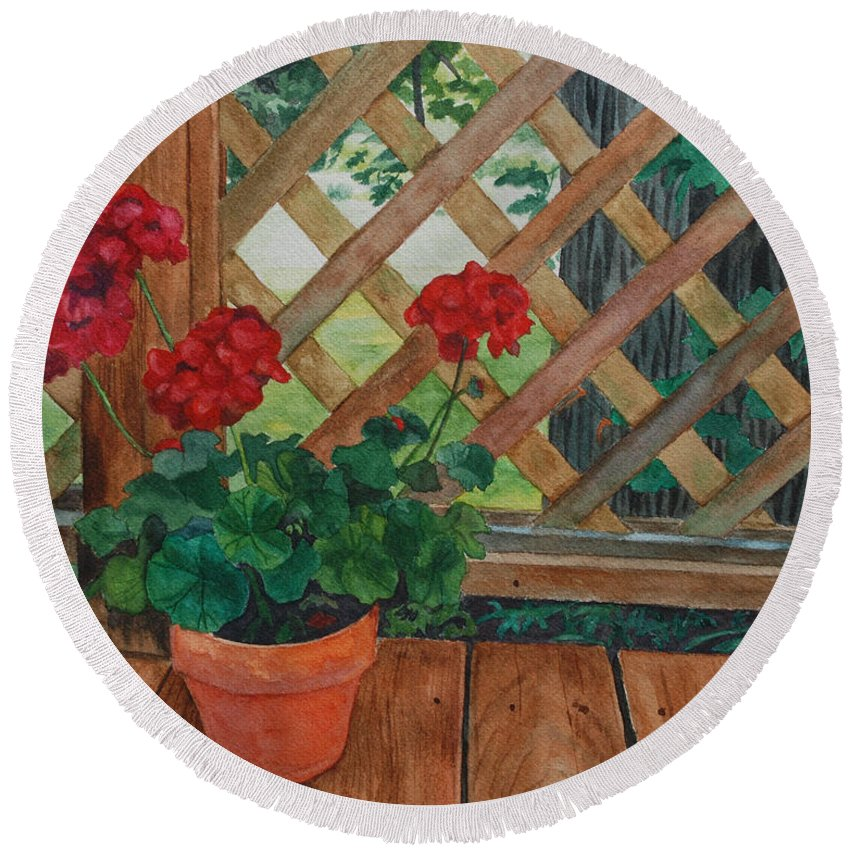 Watercolor Round Beach Towel featuring the painting View From A Deck by Lynne Reichhart