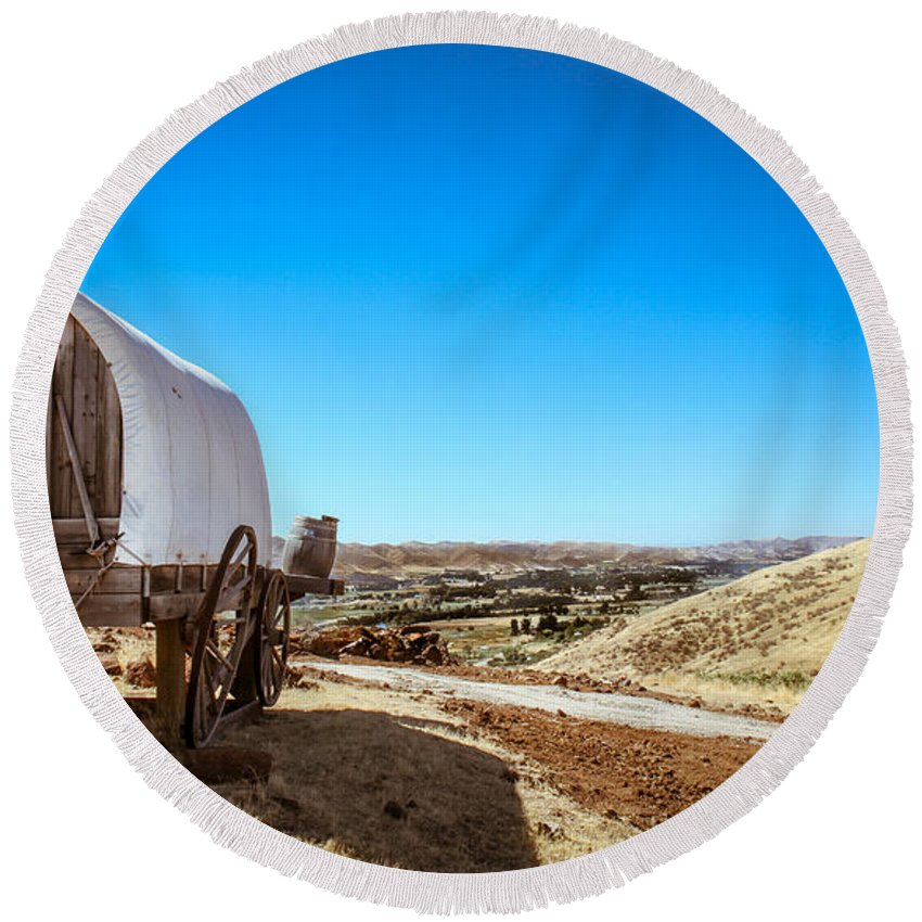 Gem County Round Beach Towel featuring the photograph View From A Sheep Herder Wagon by Robert Bales