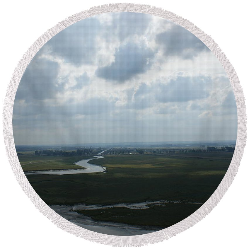Mont St. Michel Round Beach Towel featuring the photograph View From Abbey On Mont St. Michel by Christine Jepsen
