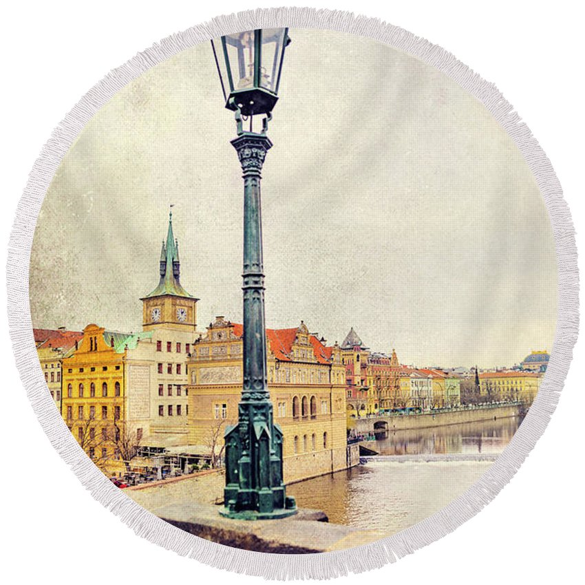 City Round Beach Towel featuring the photograph View From Charles Bridge by Svetlana Sewell