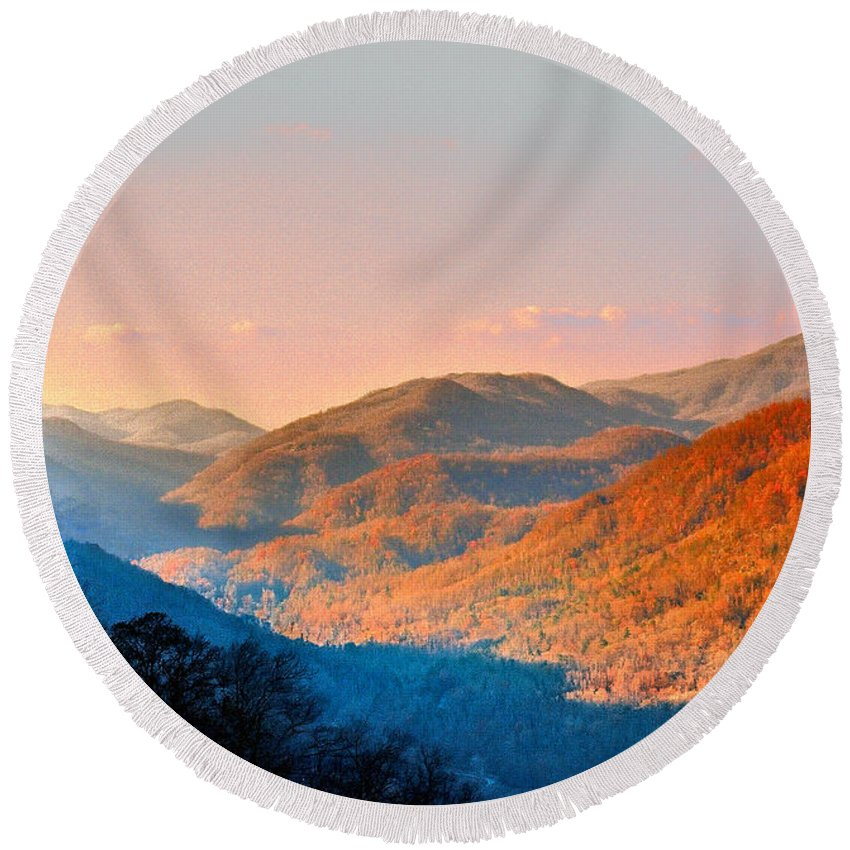 Landscape Round Beach Towel featuring the photograph View From Chimney Rock-north Carolina by Steve Karol
