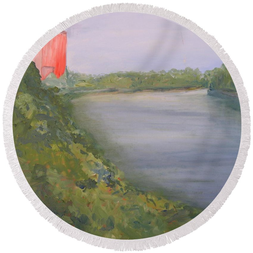 Landscape River Water Nature Round Beach Towel featuring the painting View From Edmund Pettus Bridge by Patricia Caldwell