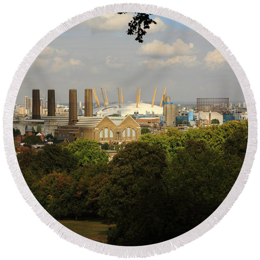 Architecture Round Beach Towel featuring the photograph View From Greenwich Park by Deborah Benbrook