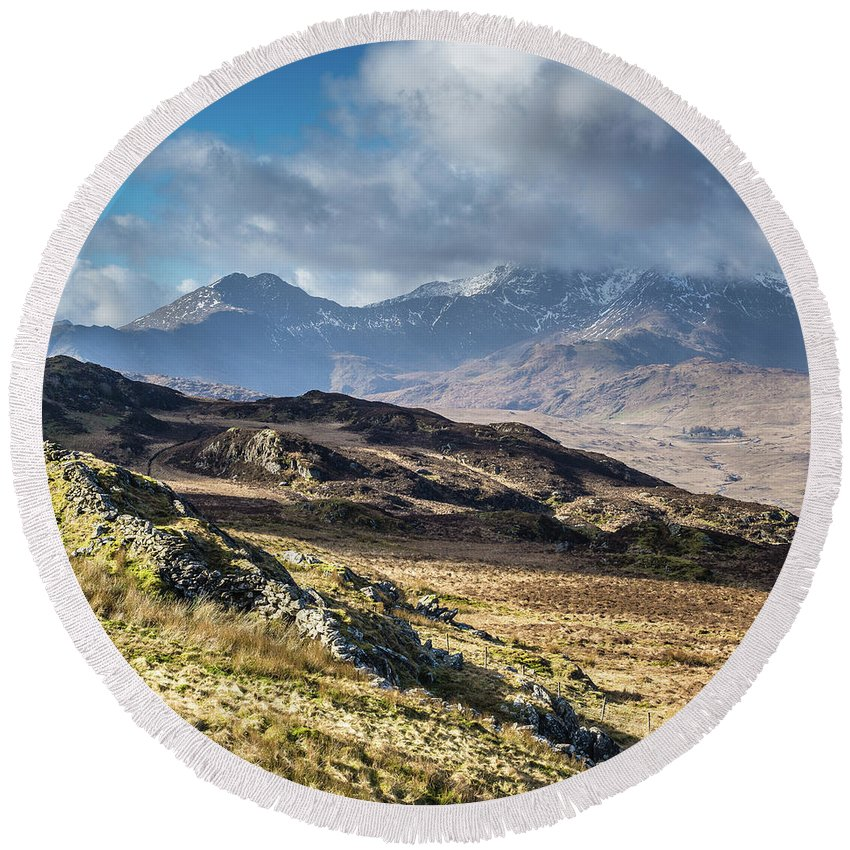 Moel Siabod Round Beach Towel featuring the photograph View from Moel Siabod, Snowdonia, North Wales by Anthony Lawlor