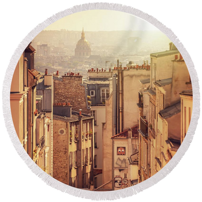 Paris Round Beach Towel featuring the photograph View From Montmartre - Vertical by Delphimages Photo Creations