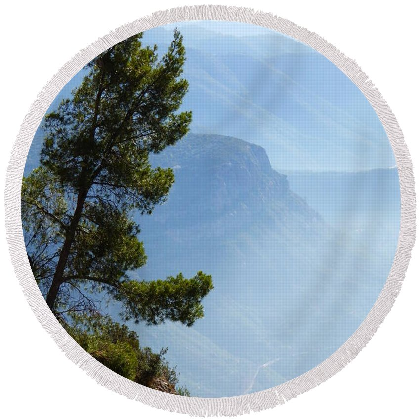 Hazy Horizon Round Beach Towel featuring the photograph View From Montserrat, Spain by Barbara Ebeling