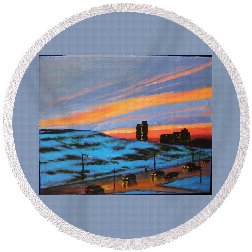 City At Night Round Beach Towel featuring the painting View From My Balcony by John Malone