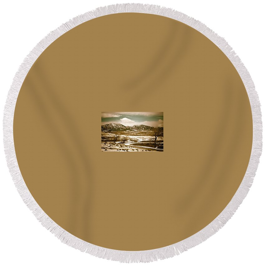 Landscape Round Beach Towel featuring the photograph FlatironsView from Superior by Marilyn Hunt