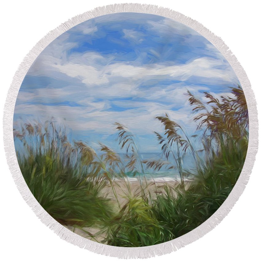 Outer Banks Round Beach Towel featuring the digital art View From The Outer Banks Dunes by Francis Sullivan
