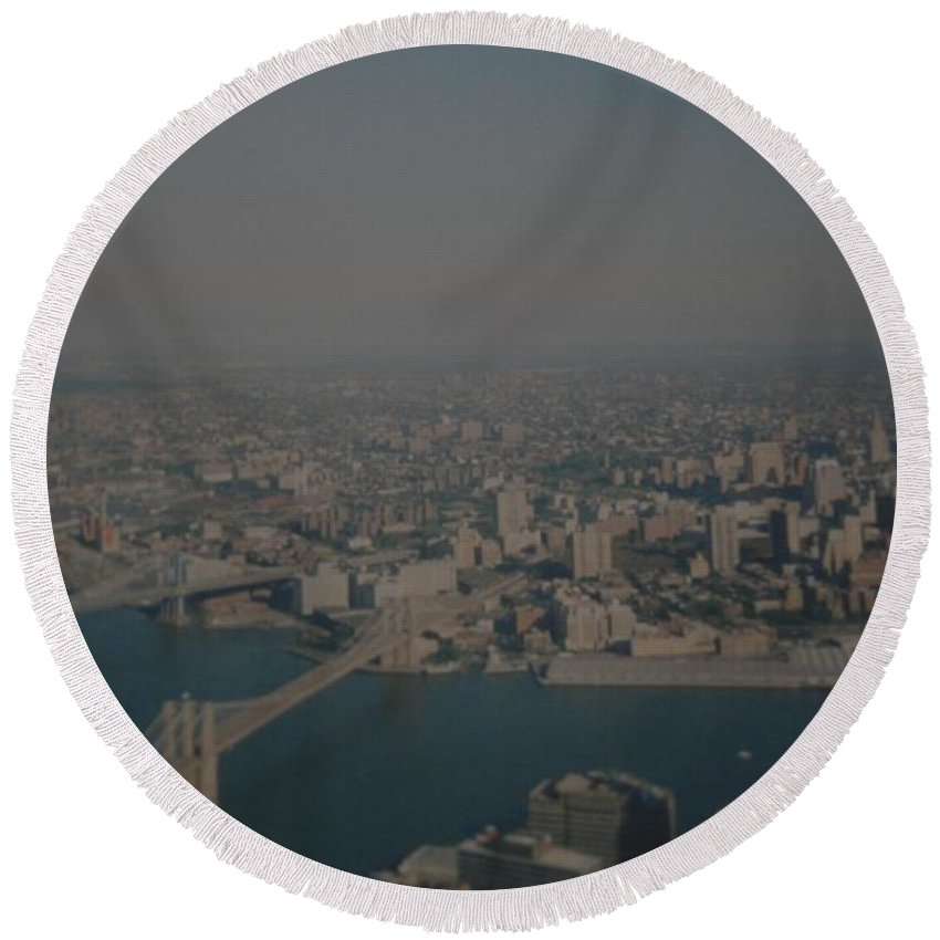 Wtc Round Beach Towel featuring the photograph View From The W T C by Rob Hans