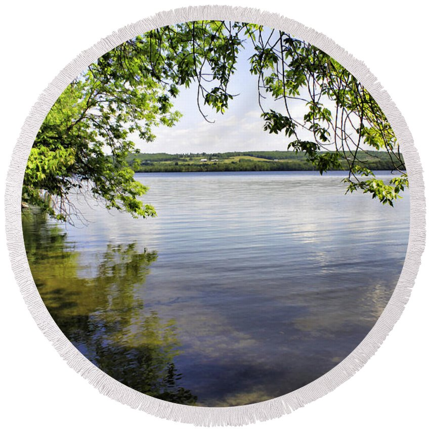Vermont Round Beach Towel featuring the photograph View From Under At Lake Carmi by Deborah Benoit