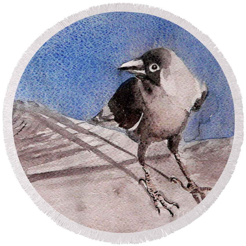 Crow Round Beach Towel featuring the painting View by Jasna Dragun