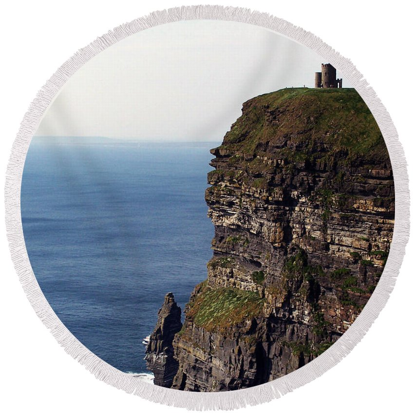 Irish Round Beach Towel featuring the photograph View Of Aran Islands And Cliffs Of Moher County Clare Ireland by Teresa Mucha