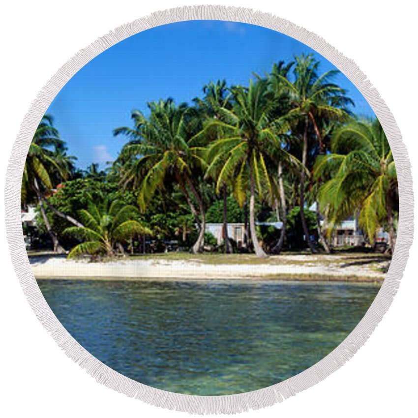 Photography Round Beach Towel featuring the photograph View Of Beachfront From Pier, Caye by Panoramic Images