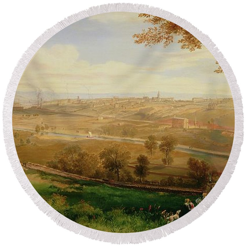 View Round Beach Towel featuring the painting View Of Bradford by William Cowen