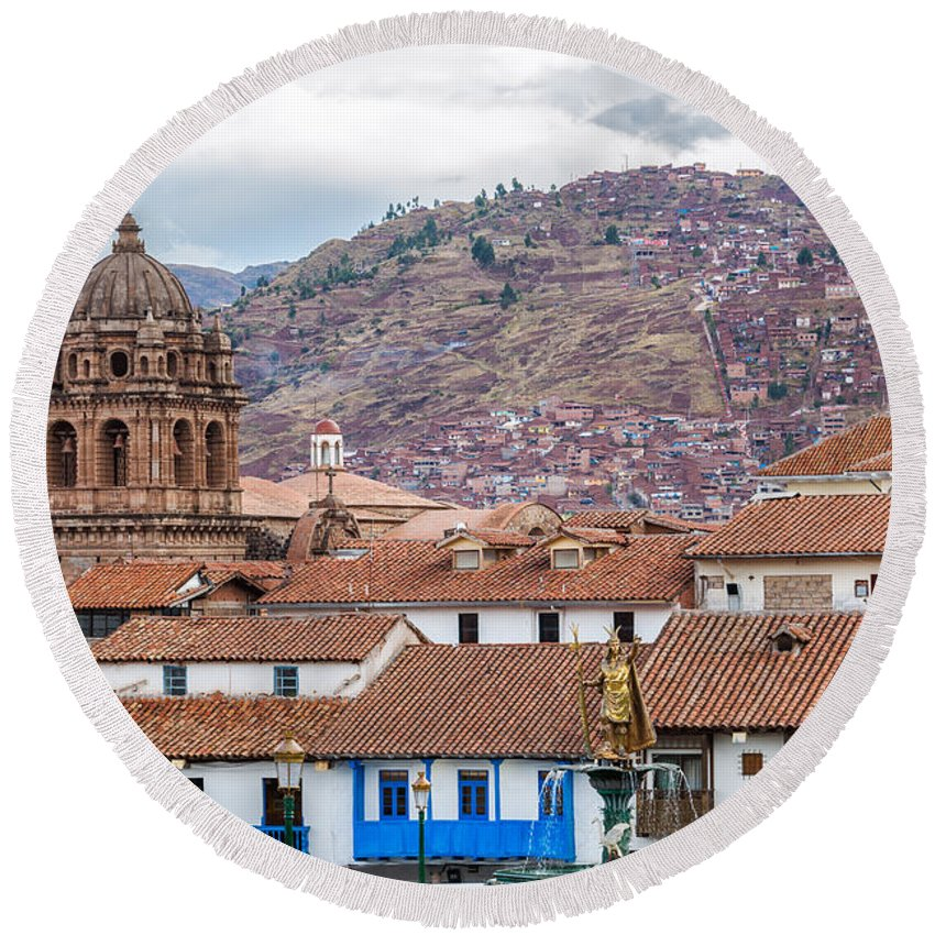 Cusco Round Beach Towel featuring the photograph View Of Central Cuzco Peru by Jess Kraft