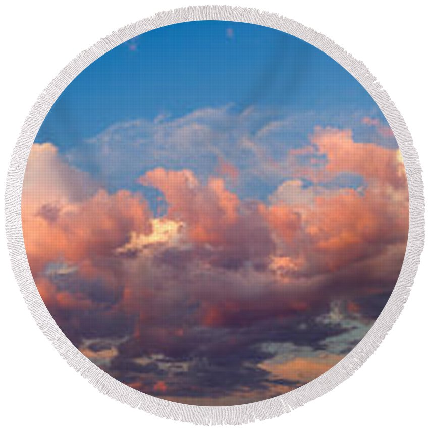 Photography Round Beach Towel featuring the photograph View Of Clouds In The Sky by Panoramic Images