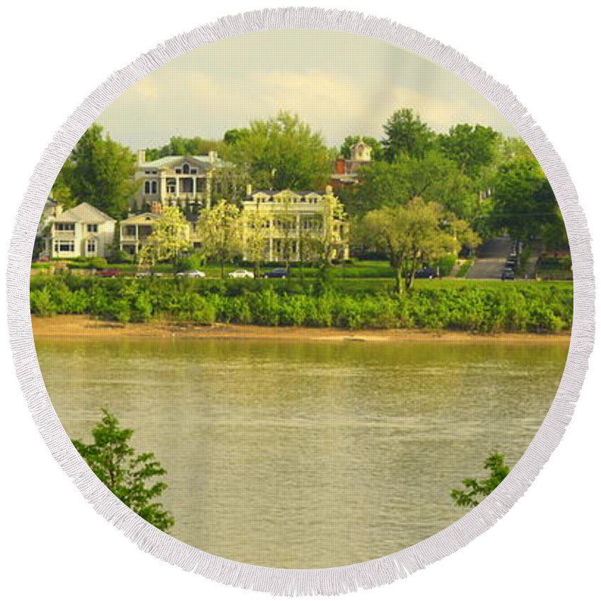 Ohio River Round Beach Towel featuring the photograph View Of Covington Kentucky by Kathy Barney