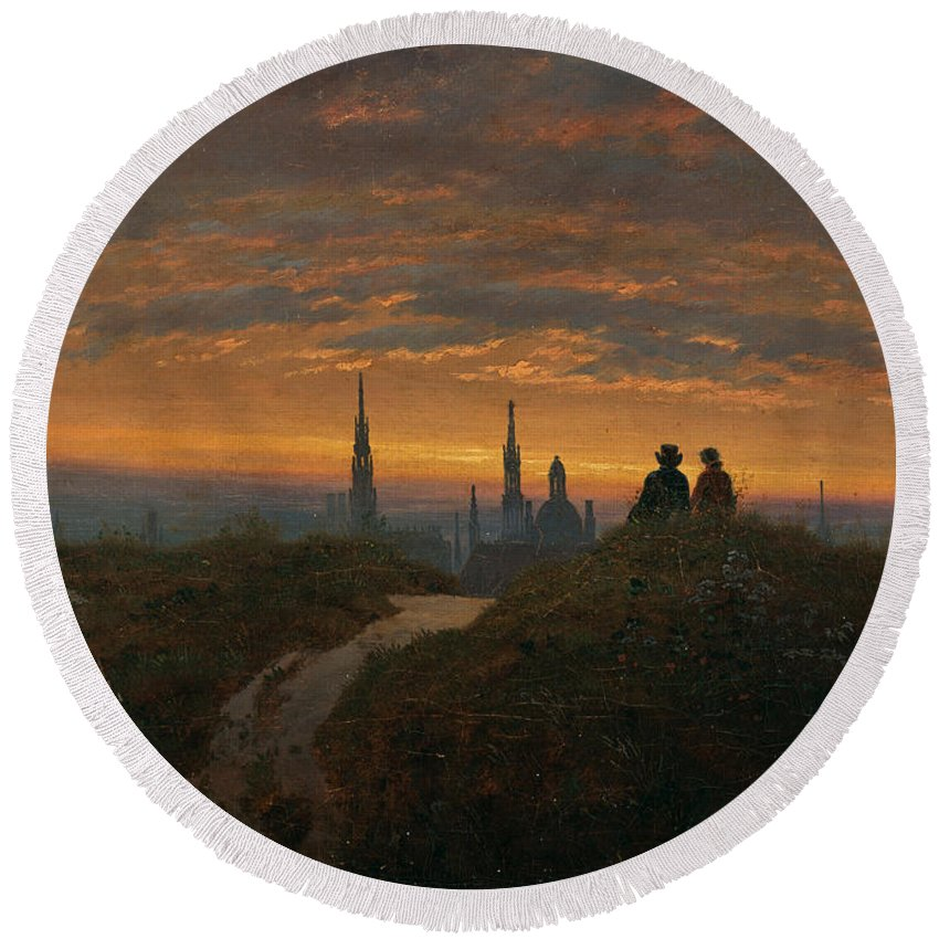 Carl Gustav Carus Round Beach Towel featuring the painting View Of Dresden At Sunset by Carl Gustav Carus