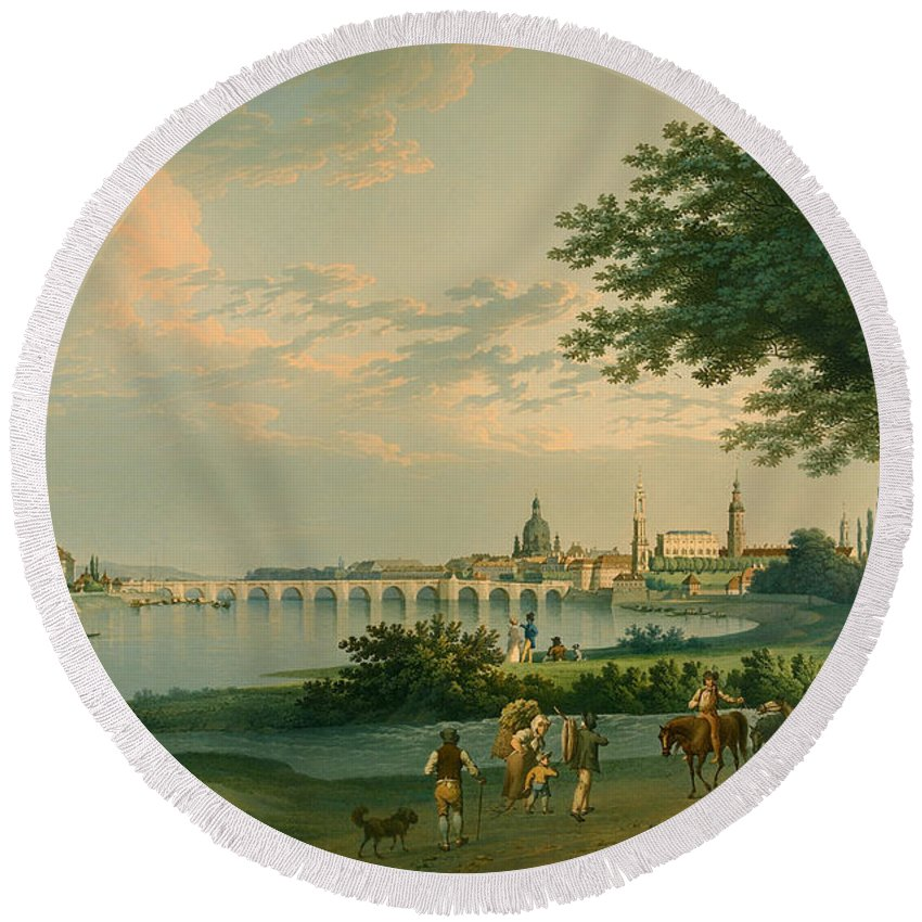 Painting Round Beach Towel featuring the painting View Of Dresden by Mountain Dreams
