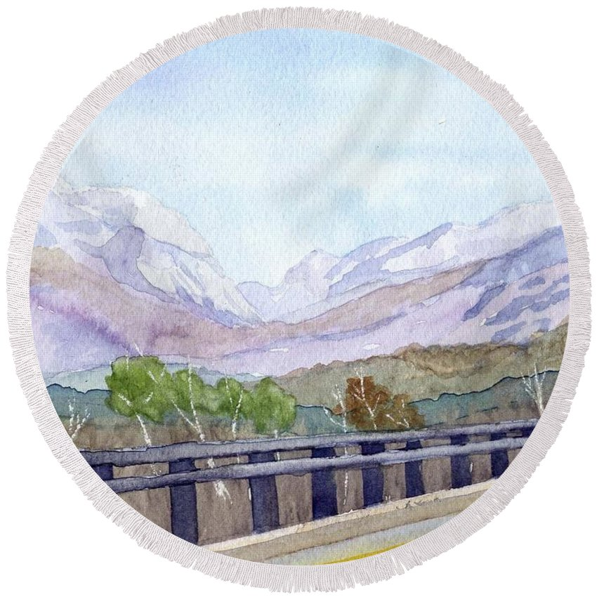Franconia Notch Round Beach Towel featuring the painting View Of Franconia Notch by Sharon E Allen