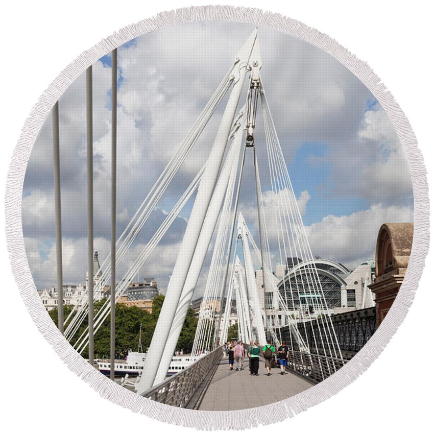 Photography Round Beach Towel featuring the photograph View Of Golden Jubilee Bridge, Thames by Panoramic Images