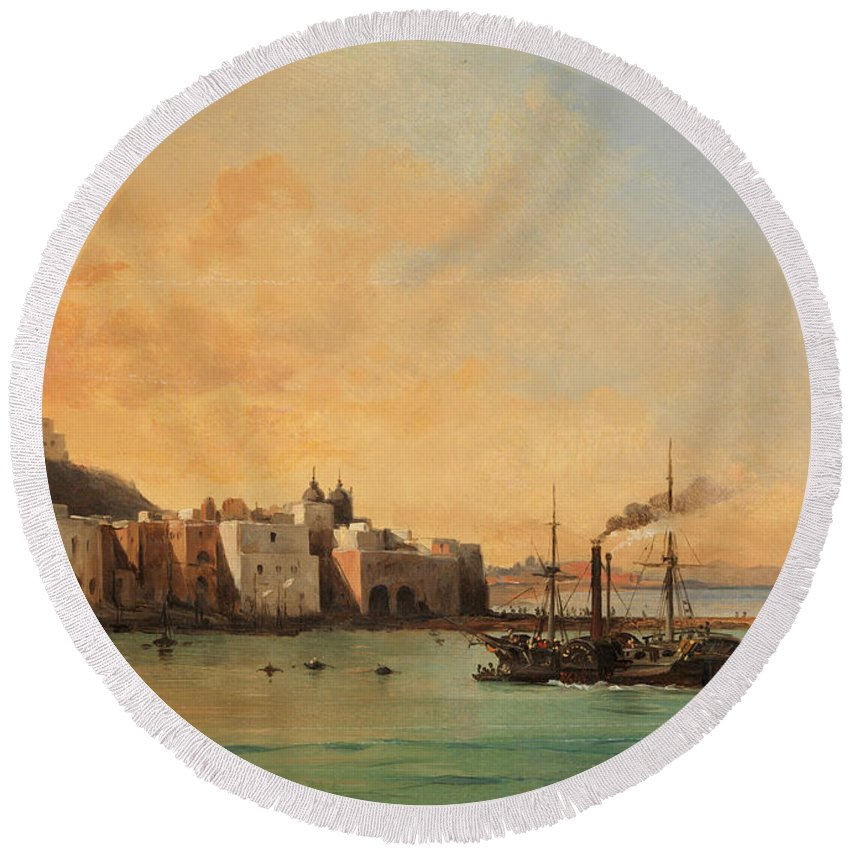 Charles Remond Round Beach Towel featuring the painting View Of Ischia From The Sea by Charles Remond