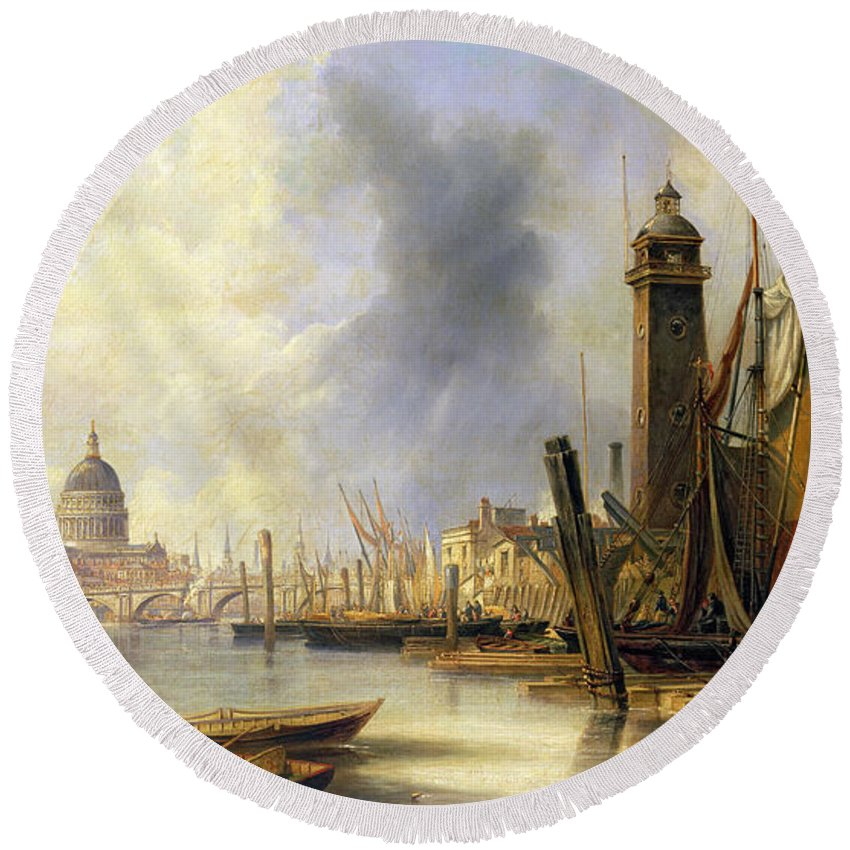Carmichael Round Beach Towel featuring the painting View Of London With St Paul's by John Wilson Carmichael