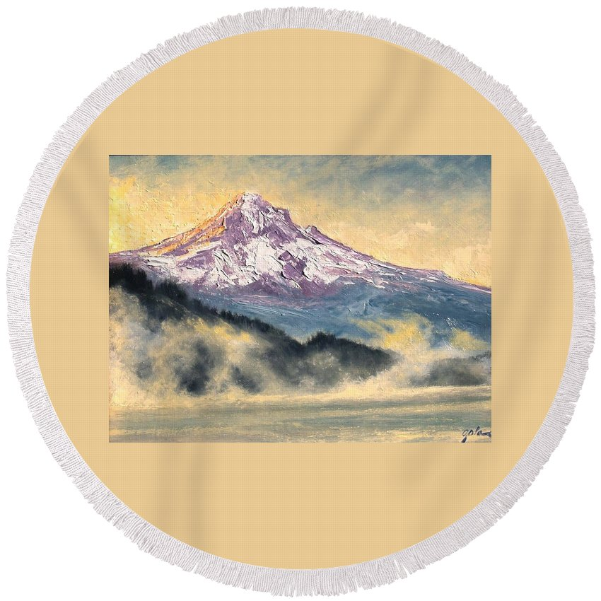 Lanscape Round Beach Towel featuring the painting View Of Mt Hood by Jim Gola